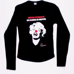 Camiseta Marilyn Manga Larga Negra