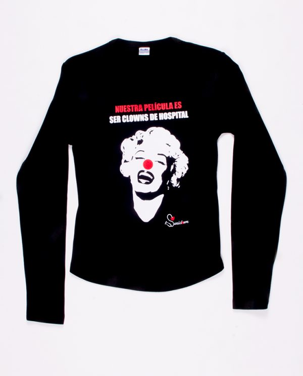 Camiseta Marilyn Manga Larga Negra
